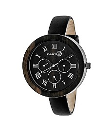 Earth Wood Brush Leather-Band Watch W/Day/Date Brown 40Mm