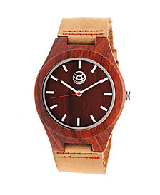 Earth Wood Aztec Leather-Band Watch Red 43Mm