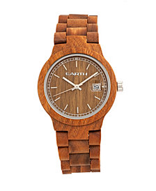 Earth Wood Biscayne Wood Bracelet Watch W/Date Olive 38Mm