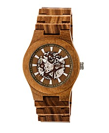 Gobi Automatic Skeleton Wood Bracelet Watch Olive 45Mm