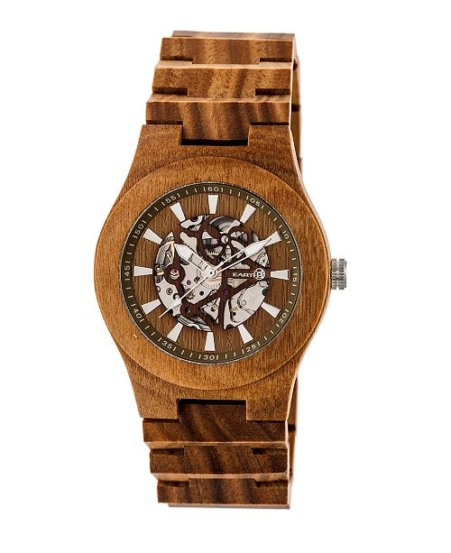Earth Wood Gobi Automatic Skeleton Wood Bracelet Watch Olive 45Mm