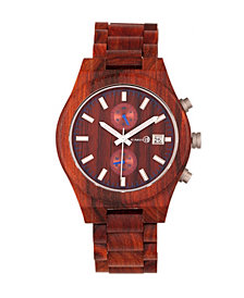 Earth Wood Castillo Wood Bracelet Watch W/Date Red 45Mm