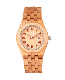 Earth Wood Baobab Wood Bracelet Watch W/Date Khaki 46Mm