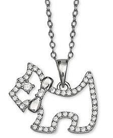 "Giani Bernini Cubic Zironia Scottie Dog 18"" Pendant Necklace in Sterling Silver, Created for Macy's"