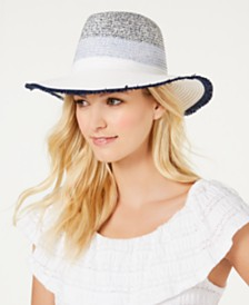 I.N.C. Tweedy Colorblocked Panama Hat, Created for Macy's