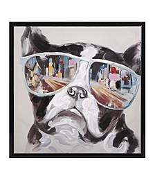 City Shades Dog Framed Canvas