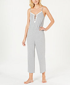 Alfani Lace-Up Knit Pajama Jumpsuit, Created for Macy's