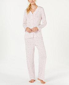 Charter Club Cotton Long Sleeve Button Front Pajama Set, Created for Macy's