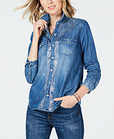 Lucky Brand Cotton Metallic-Trim Denim Shirt
