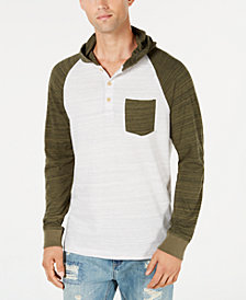 American Rag Men's Lightweight Colorblocked Henley Hoodie, Created for Macy's