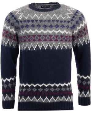BARBOUR Wetheral Fair Isle Crewneck Regular Fit Sweater in Navy