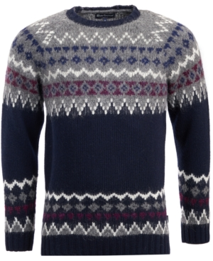 Men's Vintage Sweaters – 1920s to 1960s Retro Jumpers Barbour Mens Wetheral Fairisle Wool Sweater $171.75 AT vintagedancer.com