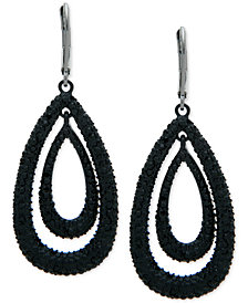 Anne Klein Hematite-Tone Pavé Orbital Drop Earrings, Created for Macy's