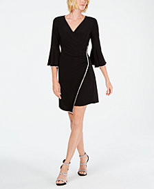 MSK Rhinestone-Trim Faux-Wrap Dress