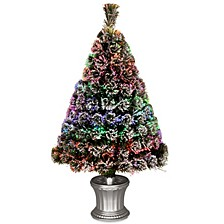 "National Tree 48"" Fiber Optic Evergreen Flocked Tree"