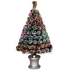 """National Tree 48"""" Fiber Optic Evergreen Flocked Tree"""