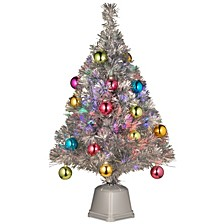 "National Tree 32"" Silver Fiber Optic Fireworks Ornament Tree"