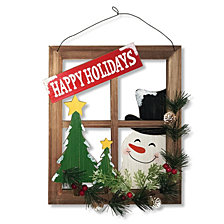 "National Tree 15"" Hanging Decor ""Window with Snowman"""