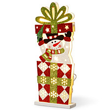 "National Tree PreLit 17"" Wooden Gift Box Snowman"