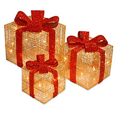 National Tree PreLit Gold Thread Gift Box Assortment