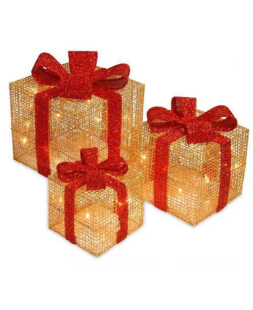 National Tree Company National Tree PreLit Gold Thread Gift Box Assortment