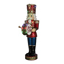 "60"" Nutcracker with Moving Hands with 15 LED Lights, Christmas Music & Timer"