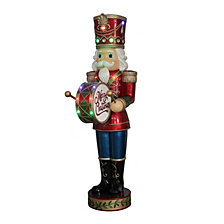 "National Tree Company 60"" Nutcracker with Moving Hands with 15 LED Lights, Christmas Music & Timer"
