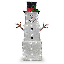 "National Tree Company 42"" Frosted White Fabric with Glitter Square Snowman with 120 Cool White LED Lights"