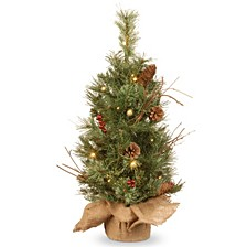 2' Glisteing Pine Small Tree in Burlap Base with Cones, Berries, & Twigs with 15 Warm White Battery Operated LED Lights