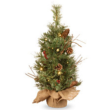 National Tree Company 2' Glisteing Pine Small Tree in Burlap Base with Cones, Berries, & Twigs with 15 Warm White Battery Operated LED Lights