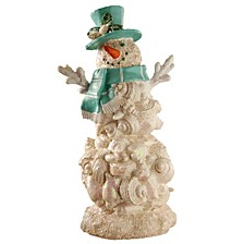 """National Tree 11"""" Polyresin Snowman with Blue Scarf & Hat"""