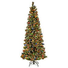 National Tree 7' Glistening Pine Pencil Slim Hinged Tree with Silver Glittered Cones, 300 Multi Lights PowerConnect