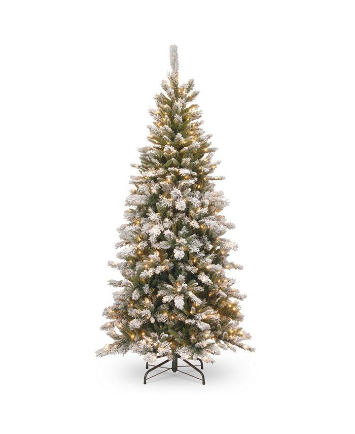 National Tree Company - National Tree 7 .5' Snowy Mountain Pine Slim Hinged Tree with 500 Clear Lights