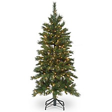 National Tree 4 .5' Tiffany Slim Fir Hinged Tree with 250 Clear Lights