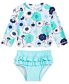 First Impressions Baby Girls 2-Pc. Floral-Print Rash Guard Set, Created for Macy's