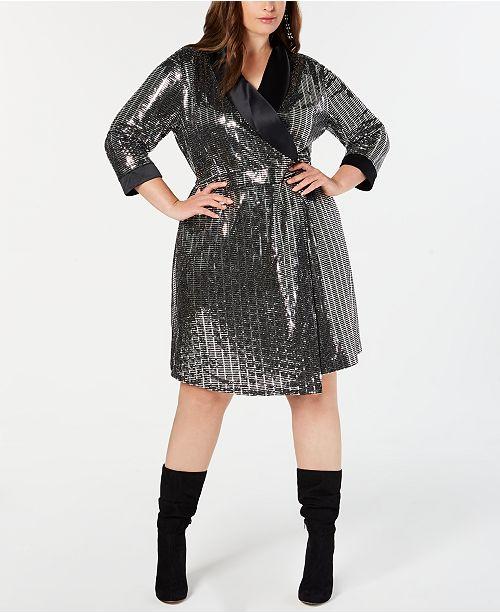 INC Plus Size Mirror-Ball Blazer Mini Dress, Created for Macy\'s