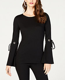 MICHAEL Michael Kors Bell-Sleeve Tie-Sleeve Top, in Regular and Petite Sizes