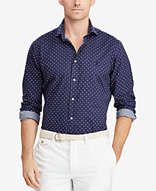 Polo Ralph Lauren Men's Big & Tall Classic Fit Polka-Dot  Shirt