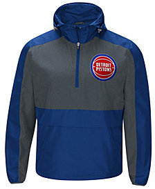 G-III Sports Men's Detroit Pistons Leadoff Lightweight Half-Zip Jacket