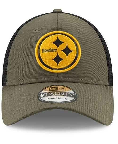 new concept c6859 49424 ... New Era Pittsburgh Steelers Camo Service Patch 9TWENTY Trucker Cap ...