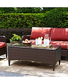 Kiawah Outdoor Wicker Glass Top Table