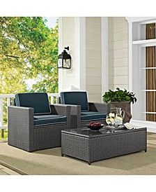 Palm Harbor 3 Piece Outdoor Wicker Seating Set In Wicker With Cushions - Coffee Table And 2 Arm Chairs