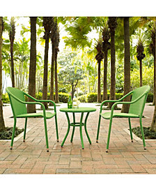 Palm Harbor 3 Piece Outdoor Wicker Cafe Seating Set - 2 Stacking Chairs And Round Side Table