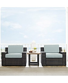 Beaufort 3 Piece Outdoor Wicker Seating Set With Mist Cushion - 2 Chairs, Side Table