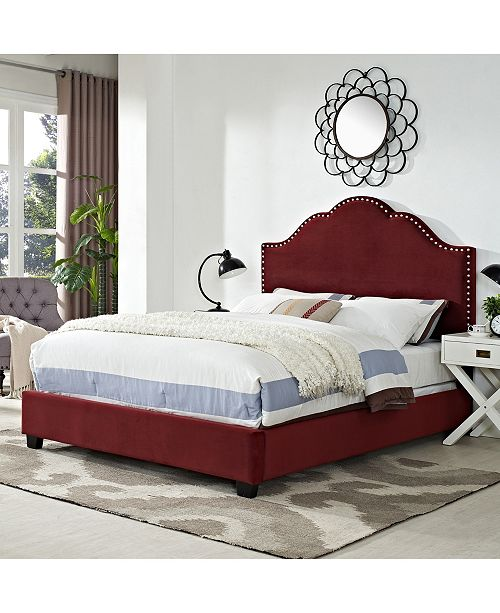 Crosley Preston Camelback Upholstered Queen Bedset In Microfiber