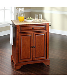 Lafayette Natural Wood Top Portable Kitchen Island