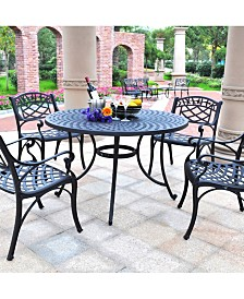 "Sedona 46"" 5 Piece Cast Aluminum Outdoor Dining Set With Arm Chairs"