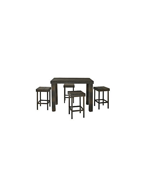 Palm Harbor 5 Piece Outdoor Wicker High Dining Set - Table And 4 Stools