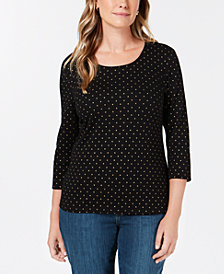 Karen Scott Petite Star-Print Scoop-Neck Top, Created for Macy's