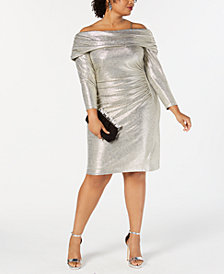 Betsy & Adam Plus Size Metallic Off-The-Shoulder Sheath Dress